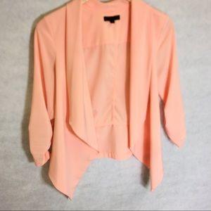 LELA ROSE Cropped peach over shirt blazer